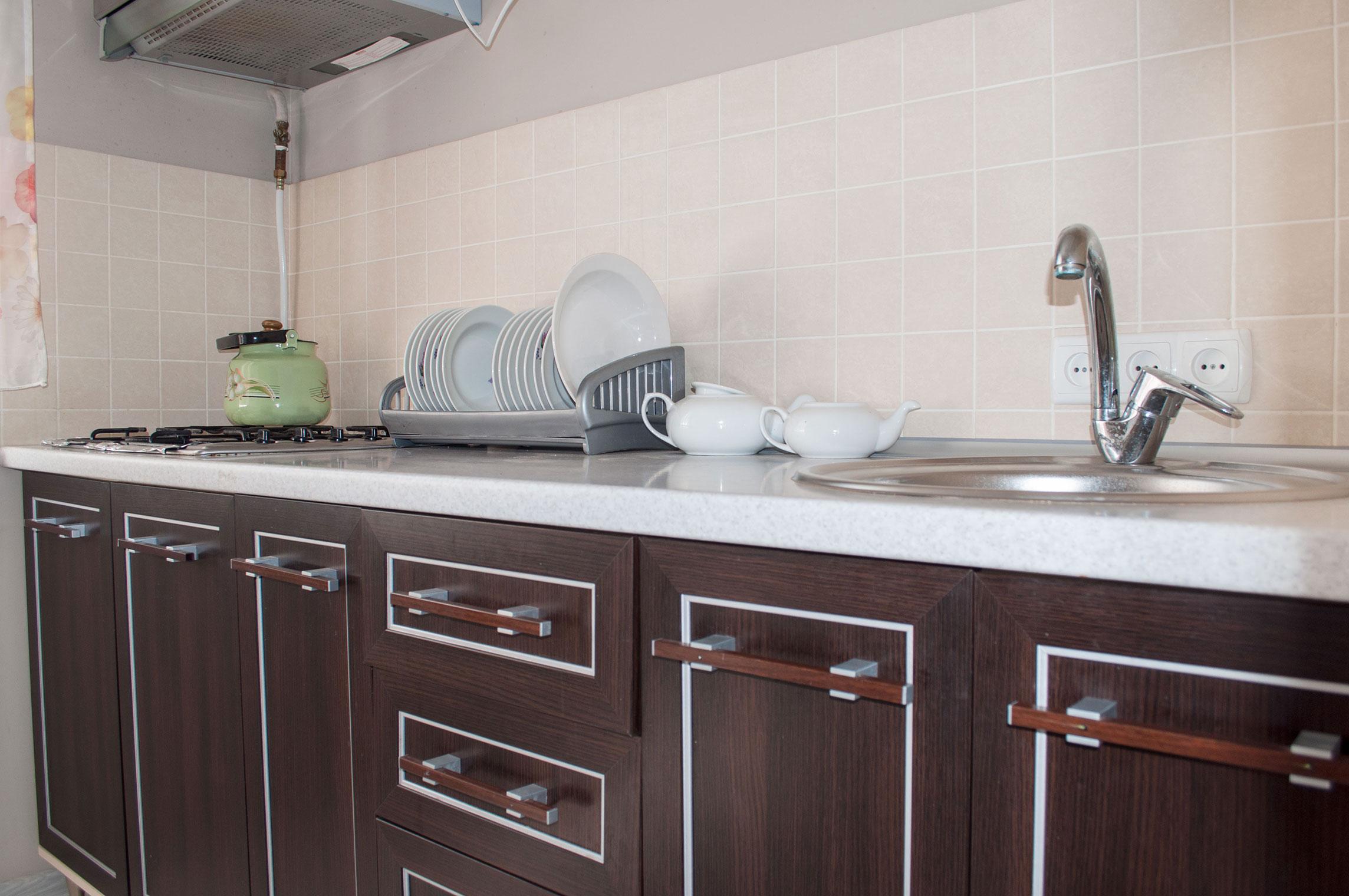 Кухня в номере Комфорт. Гостиница Песчаное Летом