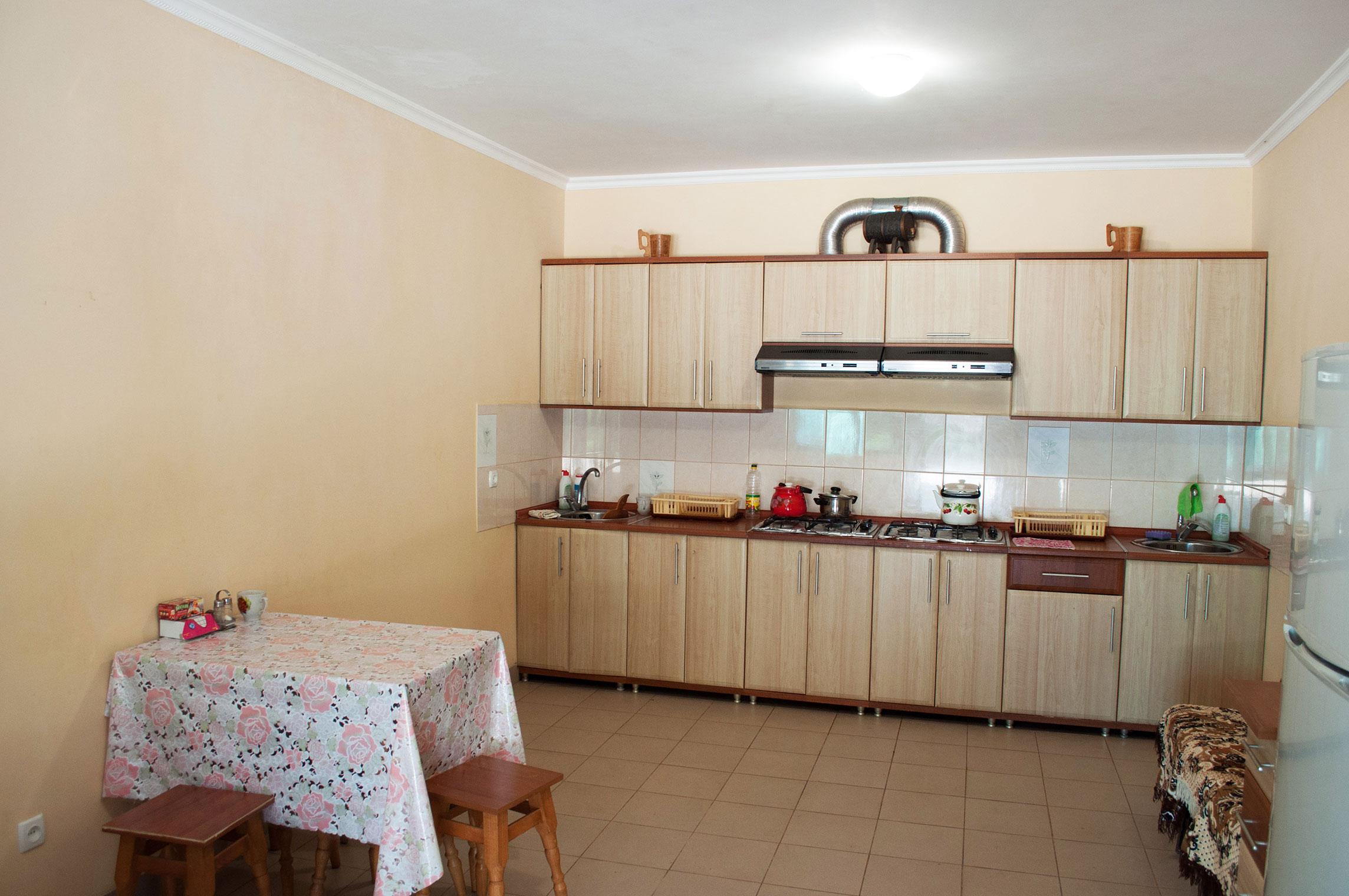 Кухня общего пользования в гостинице Песчаное Летом